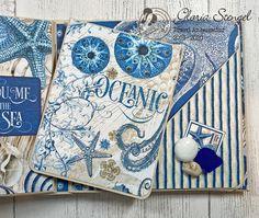 Scraps of Life: Graphic 45 Ocean Blue Mini Album Tutorial Diy Mini Album, Mini Albums Scrap, Mini Album Tutorial, Mini Scrapbook Albums, Vintage Graphic Design, Graphic Design Layouts, Graphic 45, Graphic Design Posters, Brochure Design