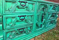 Memorial Day Giveaway - Teal Blue Vintage Dresser accented with Dark Walnut Stain ..Buffet/ TV Stand /Storage /Antique /Shabby Chic - AquaXpressions - ETSY