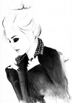 Watercolour fashion illustration of Leighton Meester Titled Punky Topknot on Etsy, $26.00