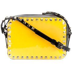 Valentino Garavani 'Rockstud' crossbody bag (2,370 SGD) ❤ liked on Polyvore featuring bags, handbags, shoulder bags, black, black cross body purse, black crossbody purse, crossbody handbags, valentino purses and valentino handbags