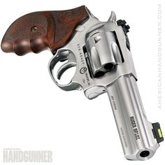 """Match Champion. Based on the SP101, Ruger offers the Match Champion with a 4.2"""" full lug barrel, 11-degree target crown, chamfered cylinder, custom Altamont grips, polished innards and shimmed hammer and trigger for consistent pulls. There's plenty more too that make this .357 Magnum great for competition or the perfect trail gun. From the November/December 2017 issue of American Handgunner. #ruger #sp101 #matchchampion #igmilitia #2a #righttobeararms #wheelgun 357 Magnum, Springfield Armory, Security Equipment, Black Labs, Guns And Ammo, Firearms, Hand Guns, Weapons, Pistols"""