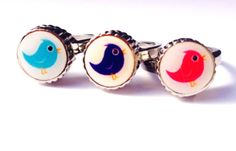 Kids friendship rings stainless steel bird charm by SweetieTops, $7.00