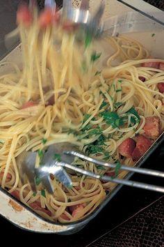 Linguine With Garlic Oil and Pancetta   Nigella's Recipes   Nigella Lawson