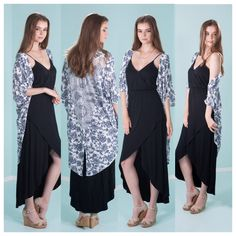 This Rose Print Lace Back Kimono would be great for the beach it could be used for a cover up after you've been swimming or it could be over a dress like the picture above