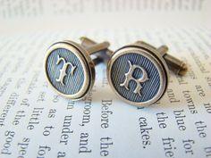 Custom Initial Cufflinks, Wedding Cufflinks, Groomsmens Gifts, Made to Order - Antiqued Brass