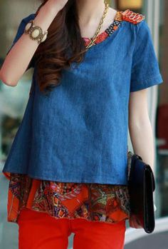 Denim Short Sleeve Blouse with Orange Chiffon Tribal Print Back