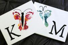 children's hand and footprint art   Easy Kids Wall Art Projects Hand and Footprint Art