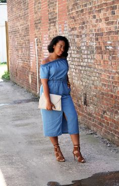 ASOS denim off the shoulder dress and Zara leather tie up sandals   ROBINSON STYLE THE BLOG