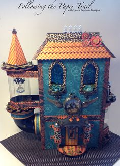 Wizard House with mini album using G45 Steampunk Spells - by Laura Denison Designs. Love the Steampunk spells collection! (image 1 of 2)