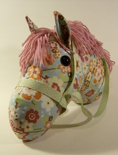 Blue And Pink Flowered Stick Horse Toy, Dusty Pink Mane, Light Green Bridle…