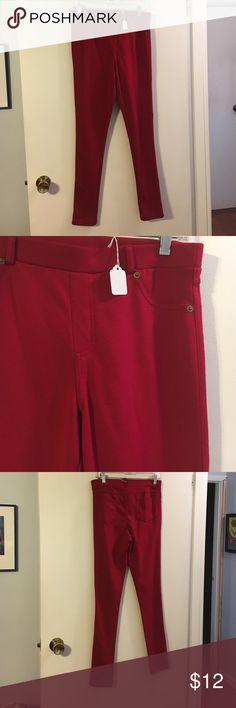 Forever 21 red leggings Styled like jeans. Soft like leggings. Poly/rayon/spandex Forever 21 Pants Leggings