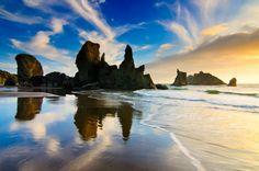 Bandon, Oregon sea stacks just before sunset — in Bandon, OR. -- Bill Ratcliffe