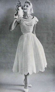 1950s Beautiful Informal Wedding Dress Knitting Pattern PDF. $10.00, via Etsy.
