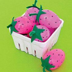 Basket of Berries (pink plastic Easter Eggs!). http://www.parents.com/holiday/easter/crafts/hats-off-to-easter-eggs/?page=18