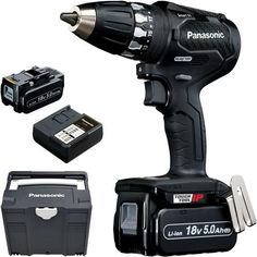 *CLICK TO ENLARGE* Panasonic EY74A3 14.4V/18V brushless drill driver with two 5.0Ah batteries