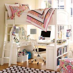 white dorm room design with bunker beds and wooden floor – Pbteen dorm room design