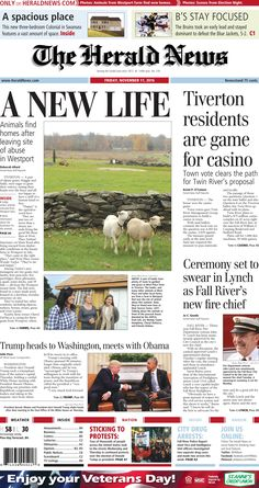 The front page of The Herald News for Friday, Nov. 11, 2016.