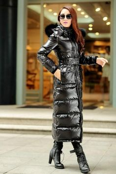 Full Length Womens Fur Hooded Slim Fit Duck Down Coat Winter Warm Outwear Jacket Nylons, Moncler Jacket Women, Long Down Coat, Long Coats, Langer Mantel, Jackets For Women, Clothes For Women, Puffy Jacket, Winter Coat