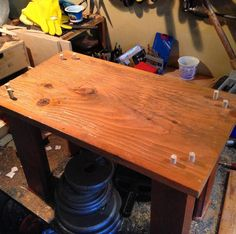 Ready to glue! Repurposing my repurposed collapsing standing desk table into a steady side table with some dowels. Legs from a roulette table and the top from a retail store's lumber shop. #repurposed #reclaimed #woodworking #furniture #diy #reuse #table