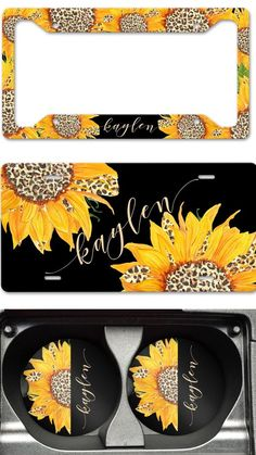 Your place to buy and sell all things handmade Sunflower Accessories, Car Accessories For Women, Vehicle Accessories, Car Tags, Cute Cars, Monogram Fonts, Printer, Etsy, 1950s Dresses