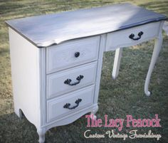French Provincial  Black and Cream Vanity / Desk by TheLacyPeacock, $199.00