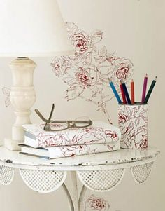 Ways to Use Leftover Wallpaper - Attractive Desk Accessories