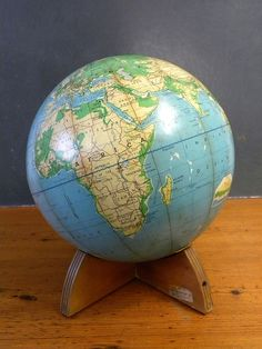Vintage World Globe, Wooden Base, Denoyer Geppert via Cathode Blue on Etsy http://www.etsy.com/shop/cathodeblue