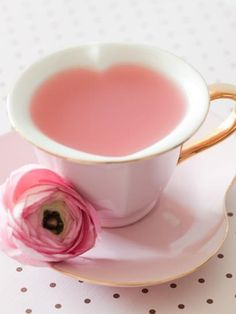I love the way this tea cup makes a heart shape cup of tea. And the tea is pink! Perfect for a Pink Tea Party! Tout Rose, Rosa Pink, Pink Lady, Everything Pink, High Tea, My Favorite Color, Favorite Things, Afternoon Tea, Pretty In Pink
