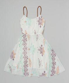 Look what I found on #zulily! White Tribal Embroidered Dress by Vintage Havana #zulilyfinds