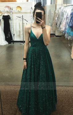 A Line V Neck Spaghetti Straps Backless Dark Green Prom Dresses, Grad Dresses, Mermaid Prom Dresses, Wedding Dresses, Ceremony Dresses, Formal Evening Dresses, Evening Gowns, Dark Green Prom Dresses, Making A Wedding Dress, Pretty Dresses