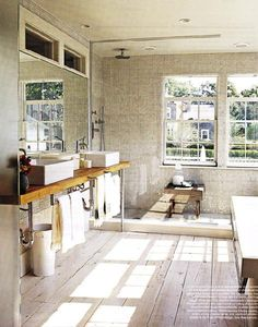 Via Decor Pad {off - white rustic modern bathroom} by recent settlers, via Flickr