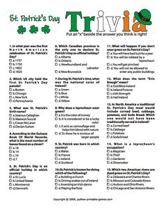 Patrick's Day Trivia for Seniors - Bing images Fete Saint Patrick, Sant Patrick, St Patrick's Day Trivia, Trivia Games, St Patrick's Day Games, Saint Patrick's Day, Senior Activities, Halloween Activities, Work Activities