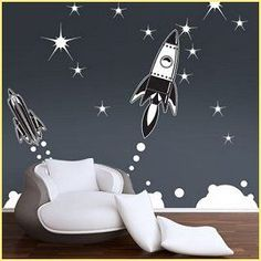 outer space bedrooms - decorate solar system bedrooms - boys space bedroom decorating - rocket murals - alien murals - astronaut wall murals - plan… …
