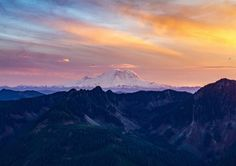 Mount Rainier at sunset, as seen from the slopes of P3. (4746*3351) [OC] :   What is P3?  Putrid Pete's Peak, otherwise known as West Defiance. Accessed from a climber's path that turns off of the Ira Spring trail.  ORRR   I'm assuming he/she means 'Peak 3'. Ski resorts own a number of mountain peaks to categorize ski runs.EarthPorn