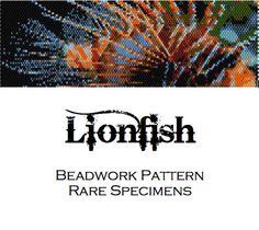 Lionfish peyote stitch pattern  cuff bracelet  by RareSpecimens