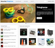 THINGIVERSE - MakerBot's Thingiverse is a thriving design community for discovering, making, and sharing 3D printable things. As the world's largest 3D printing community, we believe that everyone should be encouraged to create and remix 3D things, no matter their technical expertise or previous experience. In the spirit of maintaining an open platform, all designs are encouraged to be licensed under a Creative Commons license, meaning that anyone can use or alter any design.