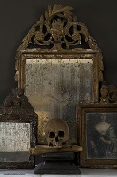 Skull and old mirrors (mantle for Halloween)