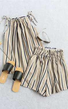 Striped Embroidered Backless Tank Top With Shorts