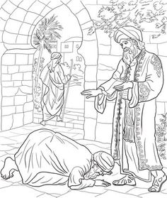 Parable of the Two Debtors coloring page from Jesus' parables category. Select from 22052 printable crafts of cartoons, nature, animals, Bible and many more.