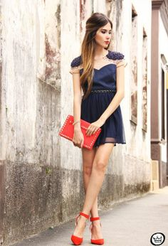 Cute And Lovely Spring Fashion. Sexy blue dress and red stilettos. <3 <3 Get coupon codes to your favorite clothing stores here: www.thriftymoment.com #fashion #spring #springfashion #trends #fashiontrends #shoes #heels #dresses #skirts #tops #cute #sexy #pretty