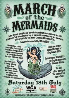 March of the Mermaids wirh added Sophisticated Mischief! Fairs And Festivals, Sea Creatures, Brighton, March, Mermaids, Events, Life, Wedding Ring, Sirens