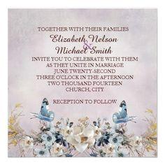 Butterfly Blue Romantic Garden Wedding Invite