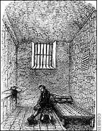 Drawing of a Prisoner in cell at Newgate Prison