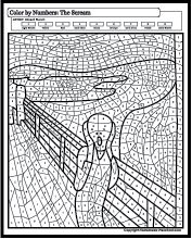Famous paintings coloring worksheets that will inspire any little artist! Each worksheet has fun color-by-number shapes. Famous paintings coloring worksheets that will inspire any little artist! Each worksheet has fun color-by-number shapes. Adult Color By Number, Color By Number Printable, Number Art, Color By Numbers, Paint By Number, Abstract Coloring Pages, Alphabet Coloring Pages, Colouring Pages, Adult Coloring Pages