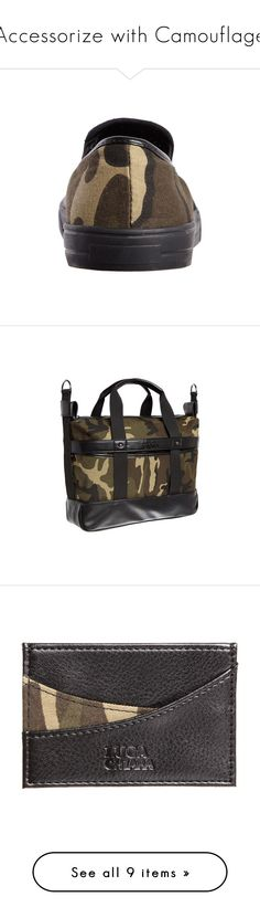 """Accessorize with Camouflage"" by lucachiara on Polyvore featuring shoes, loafers, camouflage boat shoes, camo print shoes, camouflage footwear, black deck shoes, deck shoes, accessories, bags and handbags"