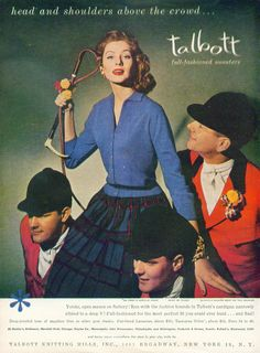 Head & shoulders above the crowd Talbott Sweaters for Women ad 1956 Suzy Parker