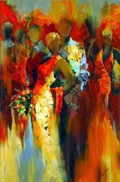 Kai Fine Art is an art website, shows painting and illustration works all over the world. African Artwork, African Art Paintings, Abstract Portrait, Abstract Art, Yellow Art, African American Art, People Art, Figure Painting, Painting Inspiration