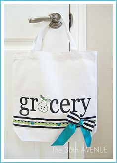 DYI Grocery Bag - Use the inexpensive plain bags that you can buy and Walmart, and get decorating!  Fun!