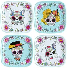 Sugar skull plates.  Love the dog!