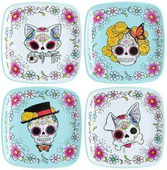 Sugar skull plates.  Love the dog!